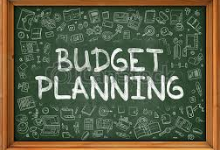 chalk board saying budget planning
