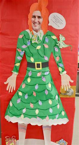 Woman's dress with holiday decorations on it