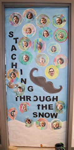 Picture of large mustache and mini pictures with the words, staching through the snow