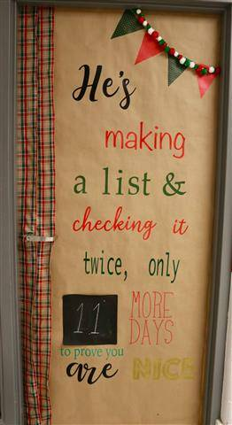 "Writing on door - ""He's making a list and checking it twice"" with a countdown to December 25"