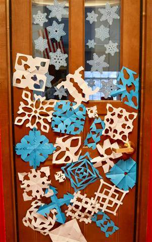 Various snowflakes - white and blue
