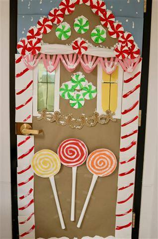 Gingerbread house with large lollipops