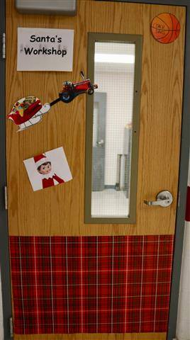 Snowman decoration on door