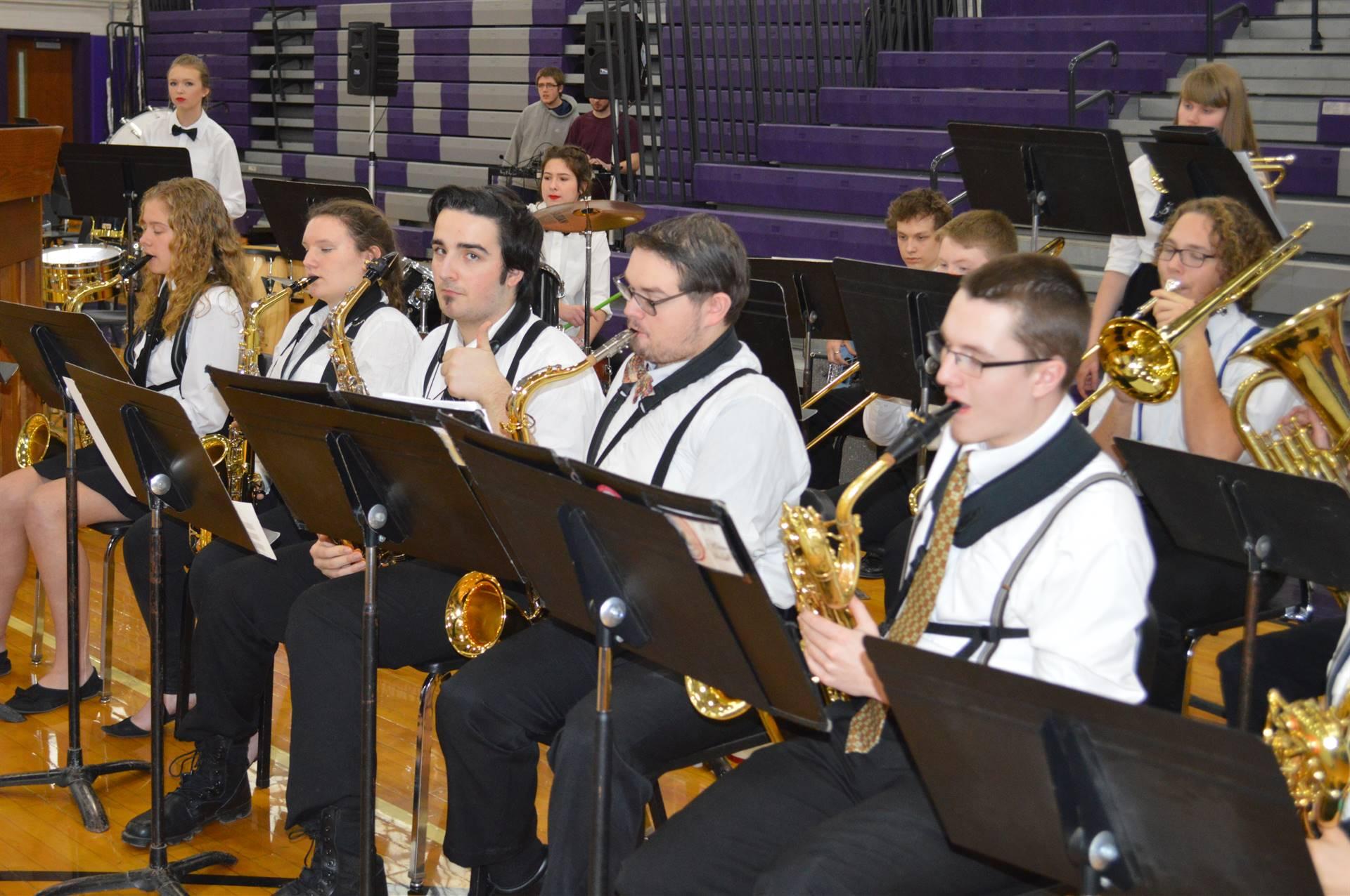 ACAMT Winter 18 Jazz Band saxophones and trombone
