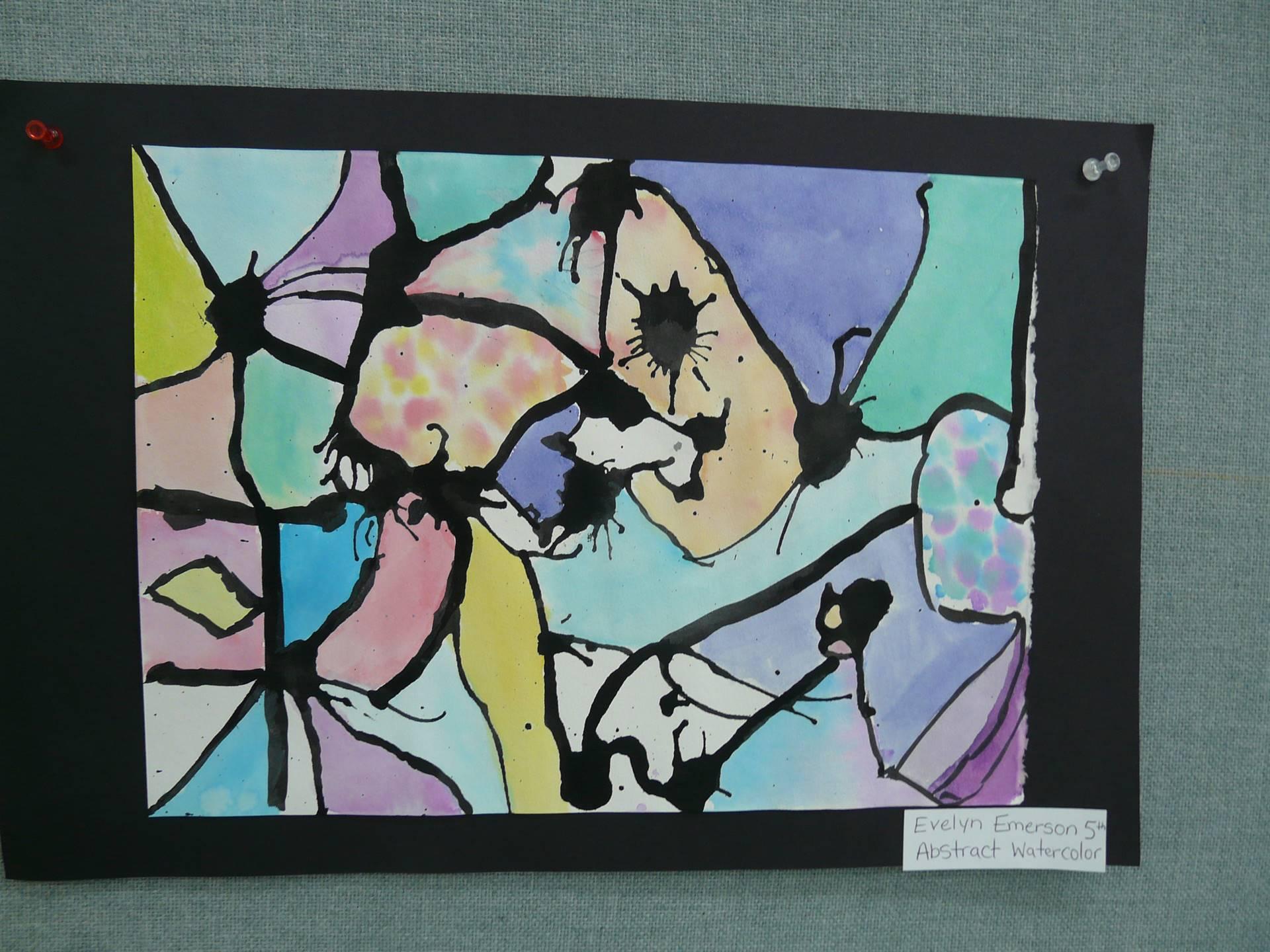 abstract art, pink, yellow, purple, light green
