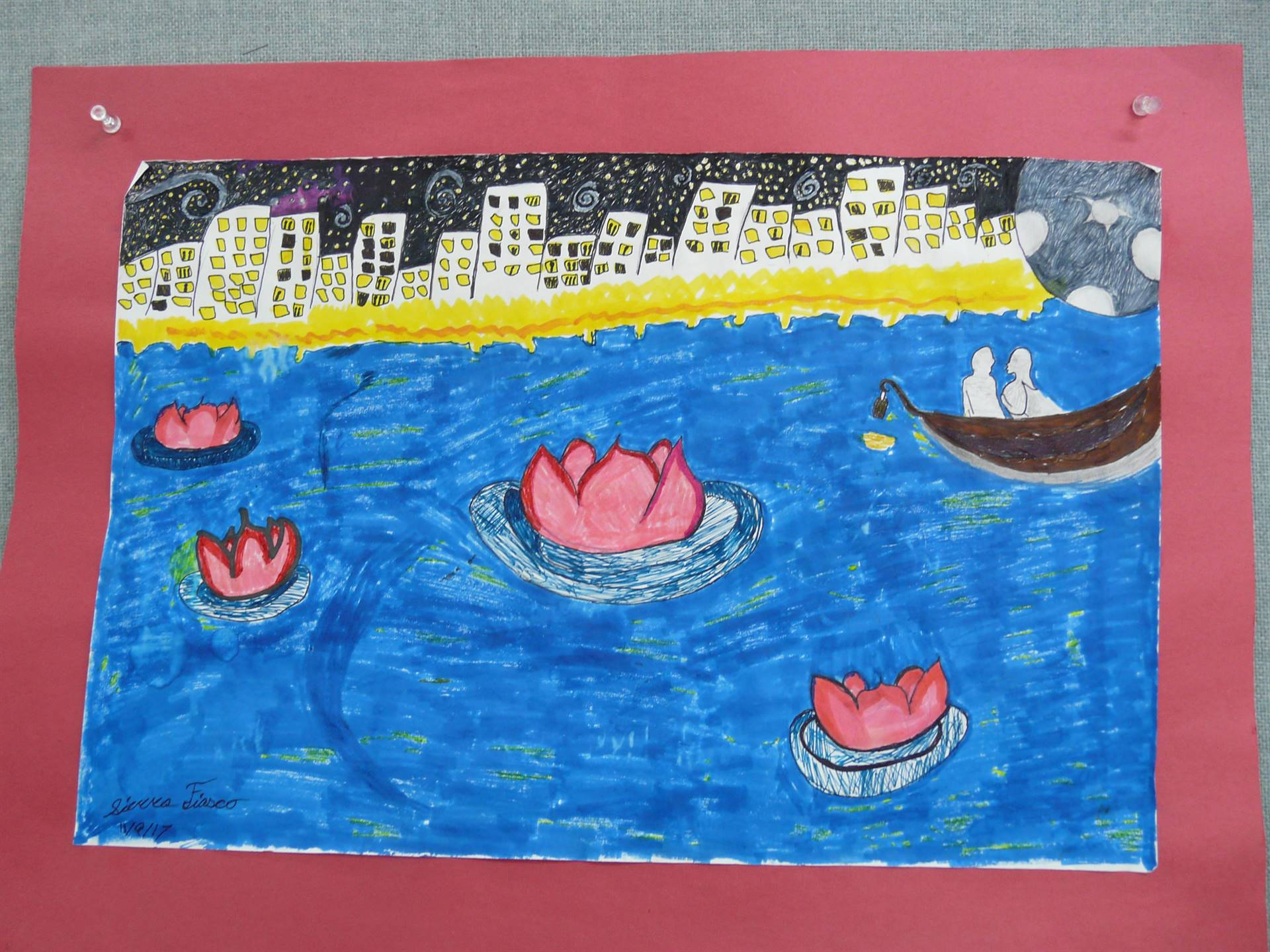 picture of city buildings, water, water lilies and a boat with 2 people in it