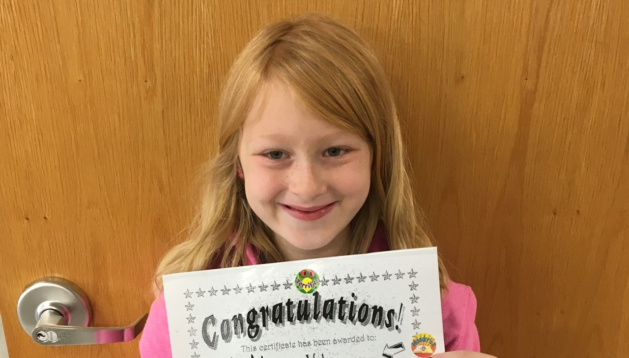 Naber 3rd grade student of month - october