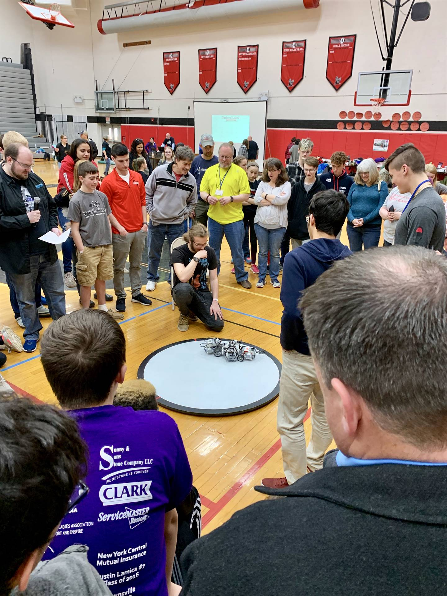 Students competing in Sumo-bot
