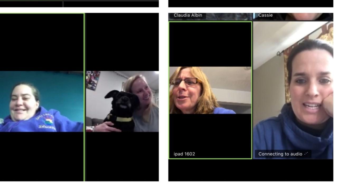 Teachers teaching via Zoom