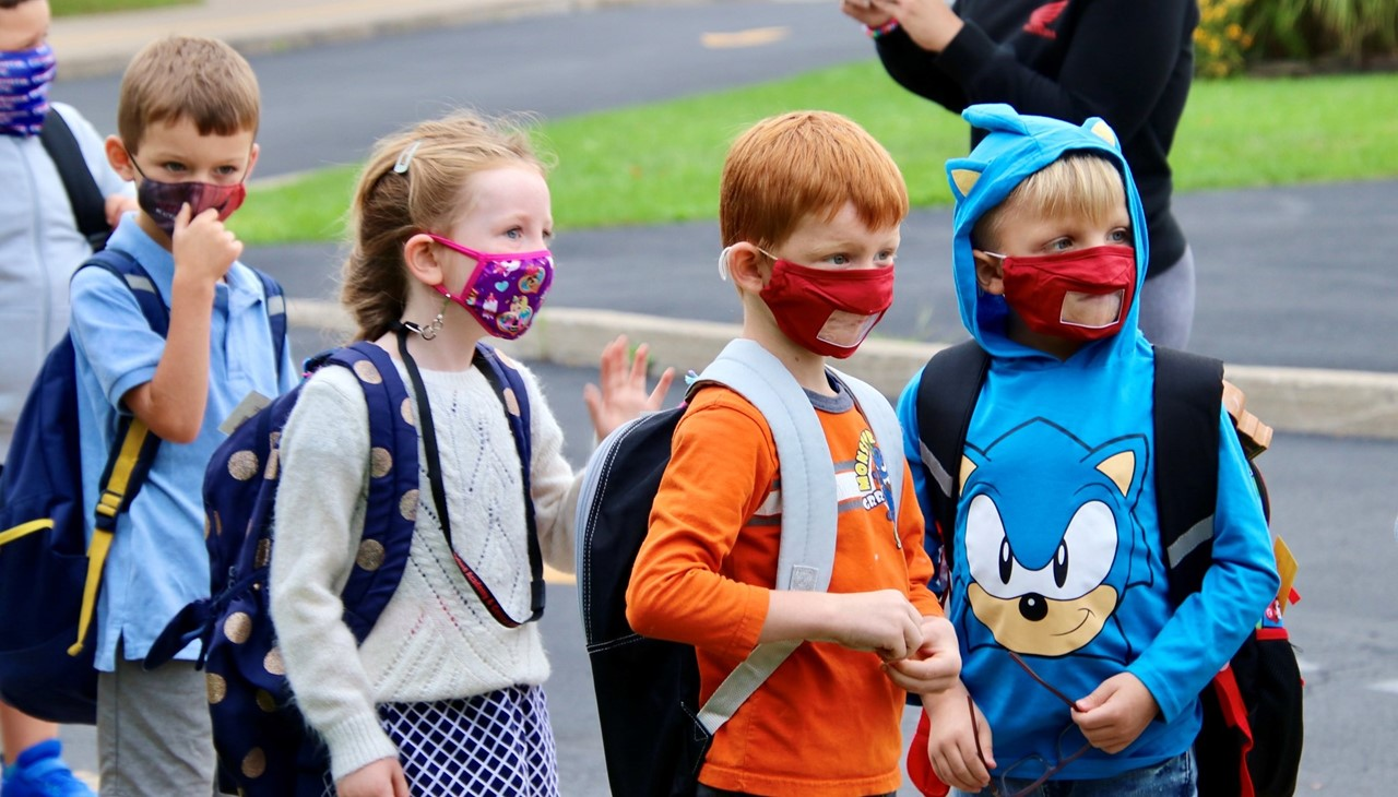 PS students in line with masks
