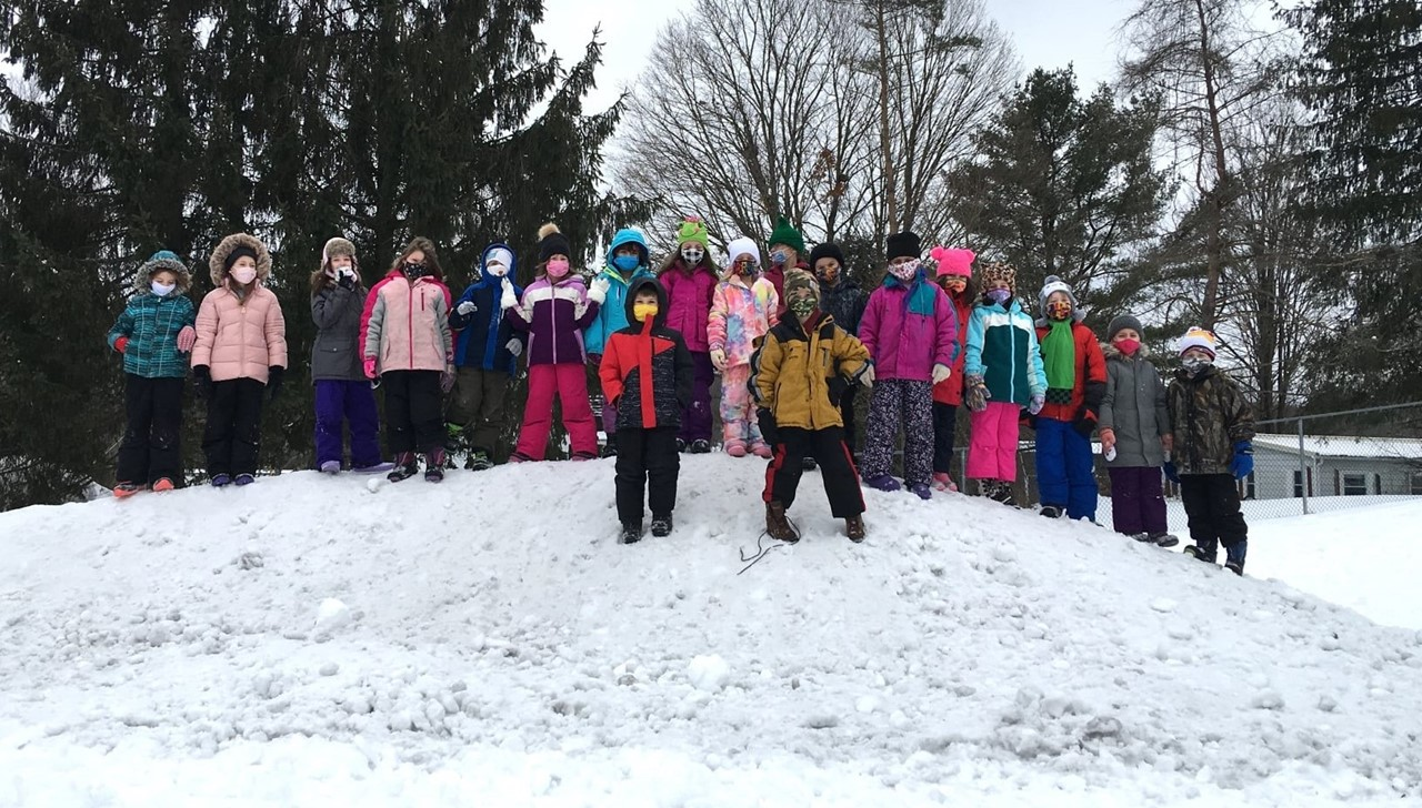 PS students playing in the snow