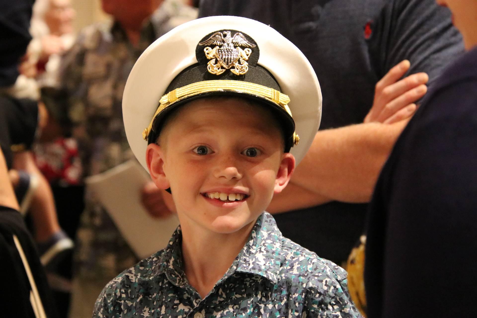 Boy attending Hall of Distinction